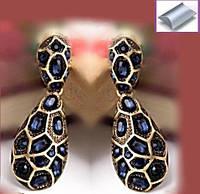 Серьги дизайнерские крупные под старинную бронзу с синими камнями