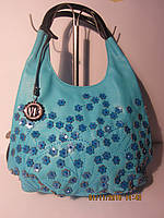 Красивая голубая  сумка с нашитыми цветами Velina Fabbiano