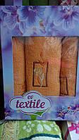 Подарочный набор махровых полотенец тройка персиковый