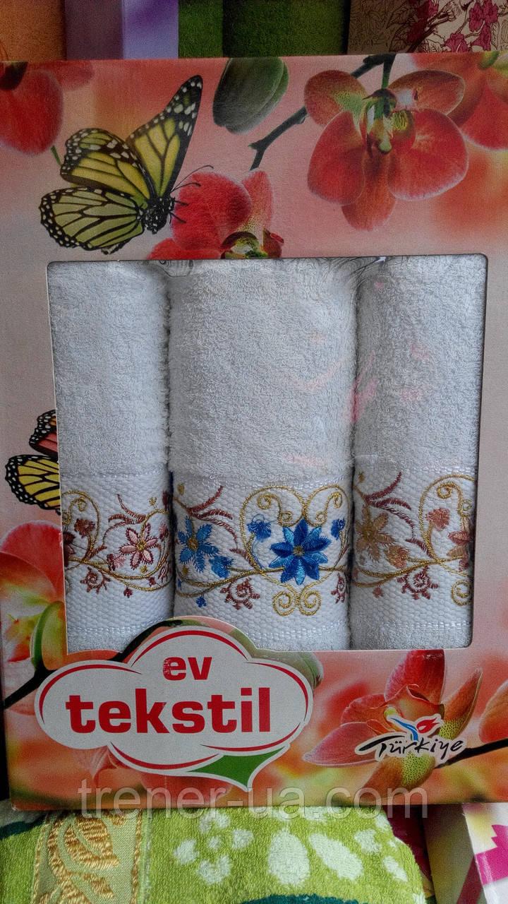 Подарунковий набір махрових рушників трійка білий