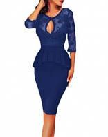 Элегантное кружевное коктейльное вечернее платье с баской синего цвета MD-60609-5