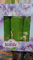 Подарочный набор махровых полотенец тройка зеленый