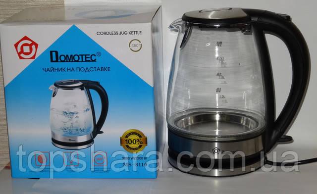 Дисковый электрический чайник из закаленного стекла  Domotec MS-8110 на 2.0л  Черный
