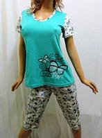 Пижама женская, домашний костюм бриджи и футболка