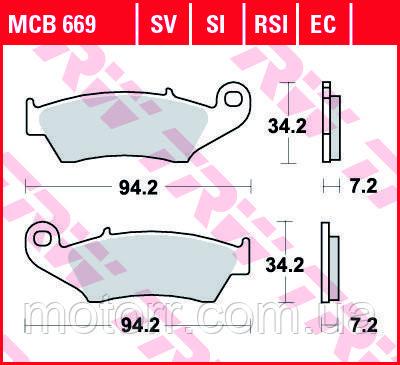 Тормозные колодки TRW / LUCAS MCB669SV