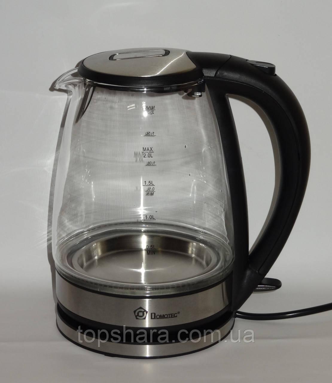 Электрочайник стекло Domotec MS-8110 2.0л черный