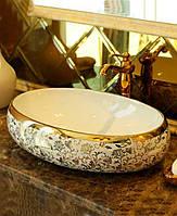 Умывальник раковина овальная под золото керамический Gold Flowers oval