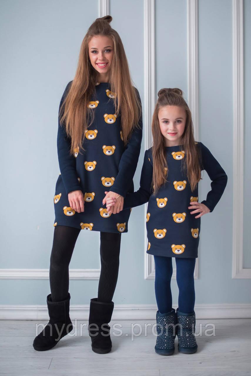 Family Look Парные утепленные платья Мишки teddy мама+дочка