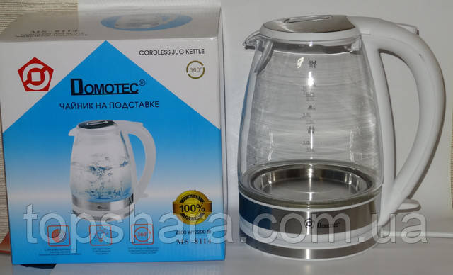 Электрочайник стекло Domotec MS-8114 2.0л белый