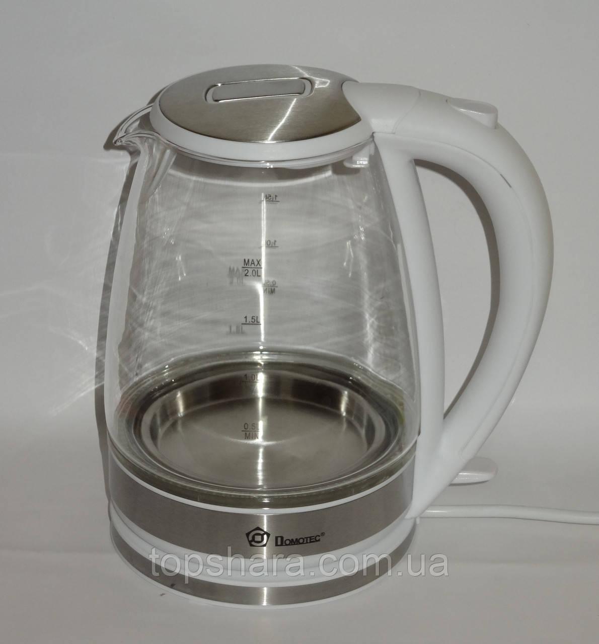 Электрочайник стеклянный Domotec MS-8114 чайник 2.0л белый