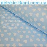 Ткань хлопковая с разносторонними сердечками 15 мм на голубом фоне № 534, фото 3