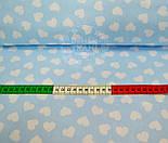 Ткань хлопковая с разносторонними сердечками 15 мм на голубом фоне № 534, фото 4