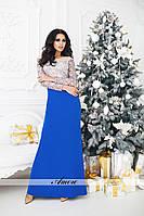 Платье ткань дорогой мягкий микродайвинг Италия, вышивка гипюр на сетке, сетка 3 цвета ,длина 165 ввлад№ 79-49