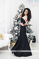Платье с маленьким шлейфом сзади, ткань дорогой фактурный гипюр, сетка в цвет кожи, вышивка ввлад№ 78-59