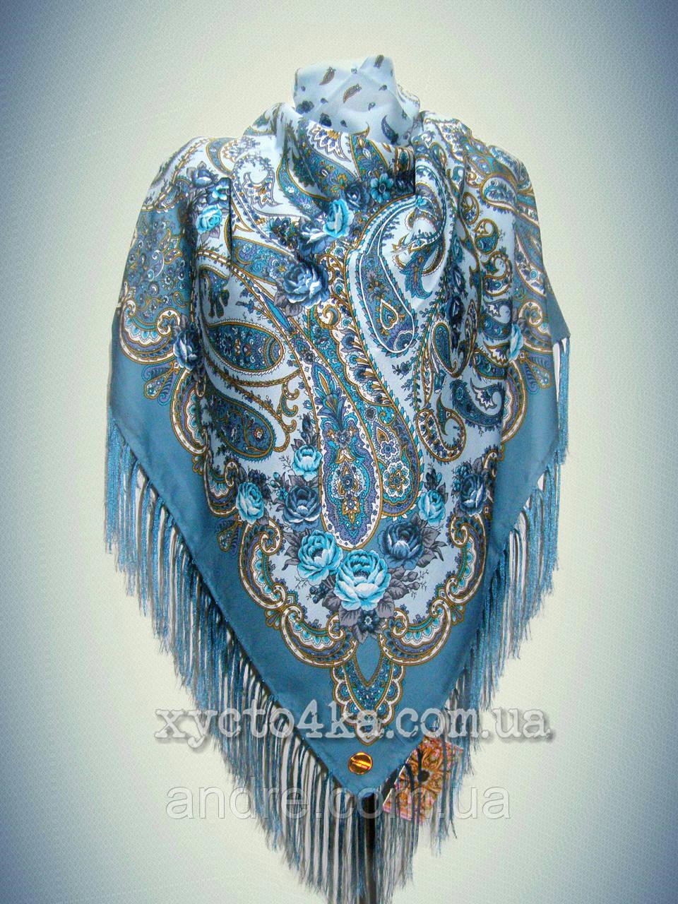 Шерстяной платок дары востока, бирюза