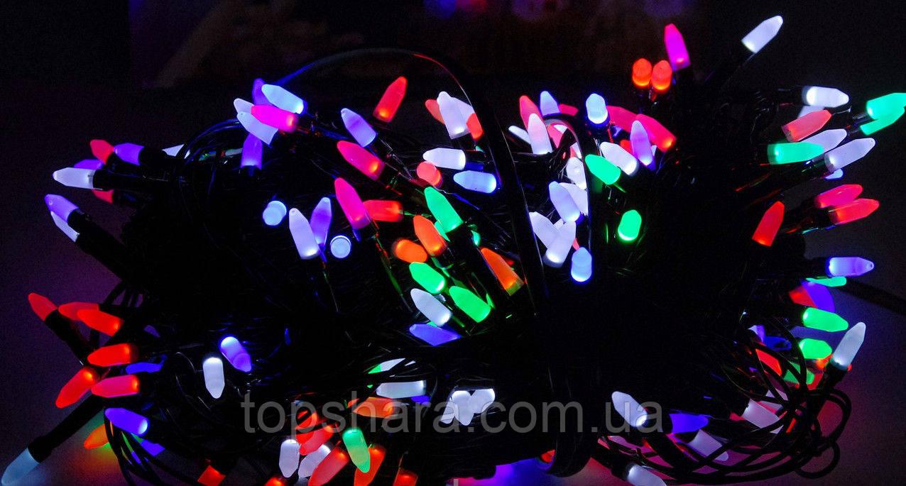 Гирлянда нить на черном проводе разноцветная RGB Led 300 светодиодов 15 метров