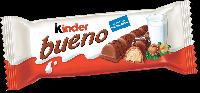 KINDER BUENO Xрустящая вафля, покрытая молочным шоколадом с нежной молочно-ореховой начинкой. Киндер Буэно