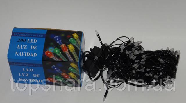 Гирлянда нить на черном проводе разноцветная RGB Led 200 светодиодов 10 метров