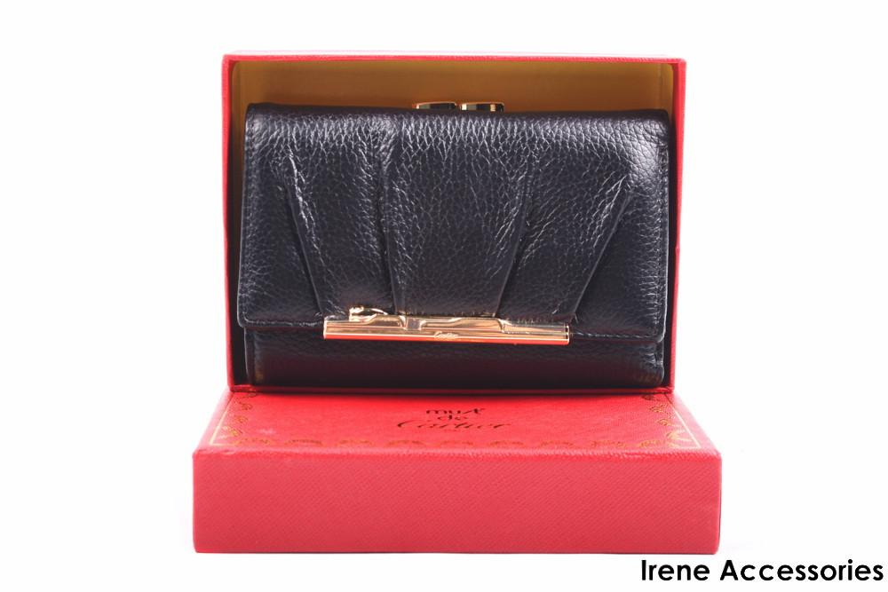 d5f259810d8a Элегантный женский кошелек Cartier из натуральной кожи, цвет черный на  кнопке, цена 875 грн., купить Червоноград — Prom.ua (ID#443239348)