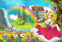 """Детские Фотообои """"Водопад возле замка"""", текстуры: холст, иней, декоративная штукатурка"""