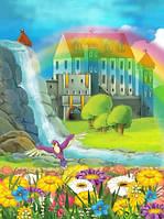 """Детские Фотообои """"Водопад и радуга"""", текстуры: холст, иней, декоративная штукатурка"""