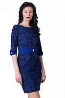 Платье синее с принтом снежинками  разм.48