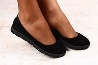 Балетки женские черные замшевые