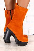 Ботинки женские демисезонные рыжие замшевые