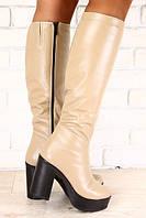 Сапоги кожаные зимние цвета капучино