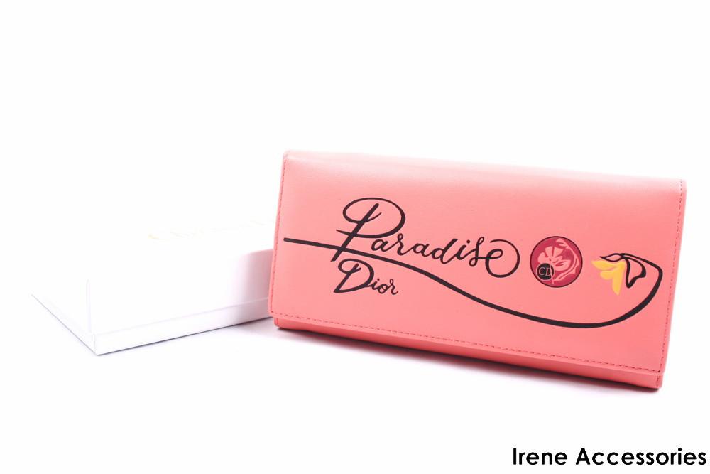 Кошелек женский элегантный Christian Dior из натуральной кожи, цвет персиковый на кнопке