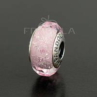 """Мурано PANDORA (ПАНДОРА) """"Переливающееся розовое стекло"""" из серебра для браслета"""
