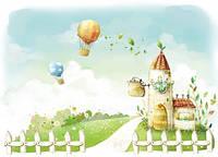 """Детские Фотообои """"Воздушные шары"""", текстуры: холст, иней, декоративная штукатурка"""