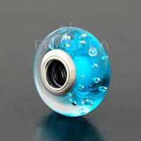 """Мурано PANDORA (ПАНДОРА) """"Голубое муранское стекло"""" из серебра для браслета"""