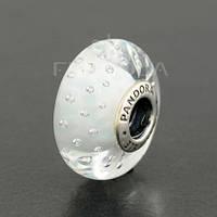 """Мурано PANDORA (ПАНДОРА) """"Белое муранское стекло"""" из серебра для браслета"""