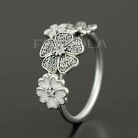 """Кольцо PANDORA (ПАНДОРА) """"Кольцо из серебра цветочное настроение"""" из серебра для браслета"""