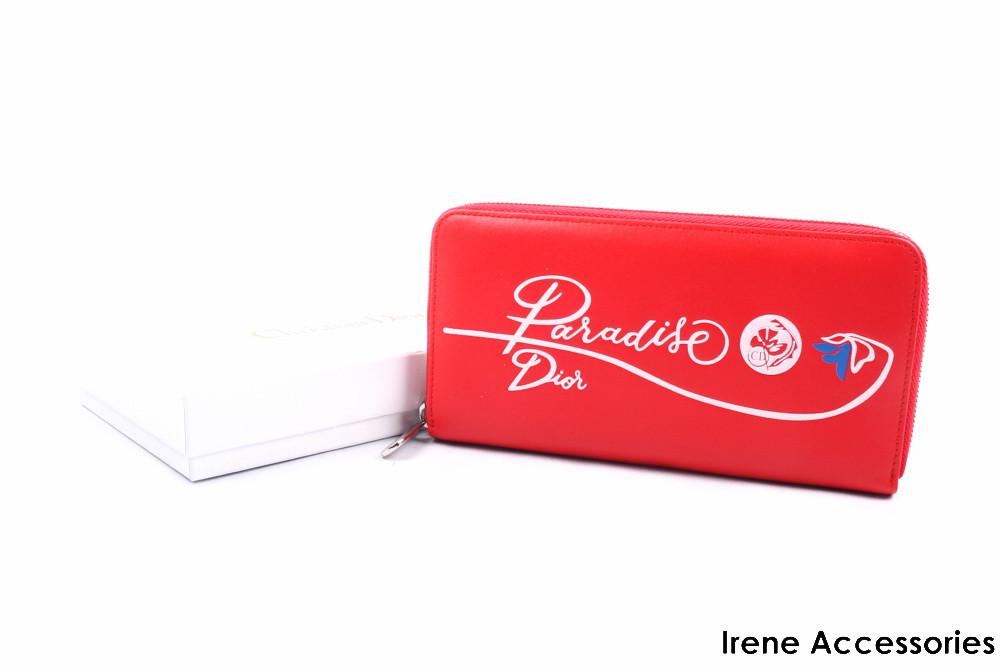 Кошелек женский элегантный Christian Dior из натуральной кожи, цвет красный на молнии