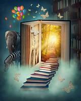 """Детские Фотообои """"Волшебная лестница"""", текстуры: холст, иней, декоративная штукатурка"""