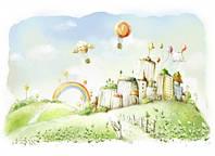 """Детские Фотообои """"Волшебный городок"""", текстуры: холст, иней, декоративная штукатурка"""