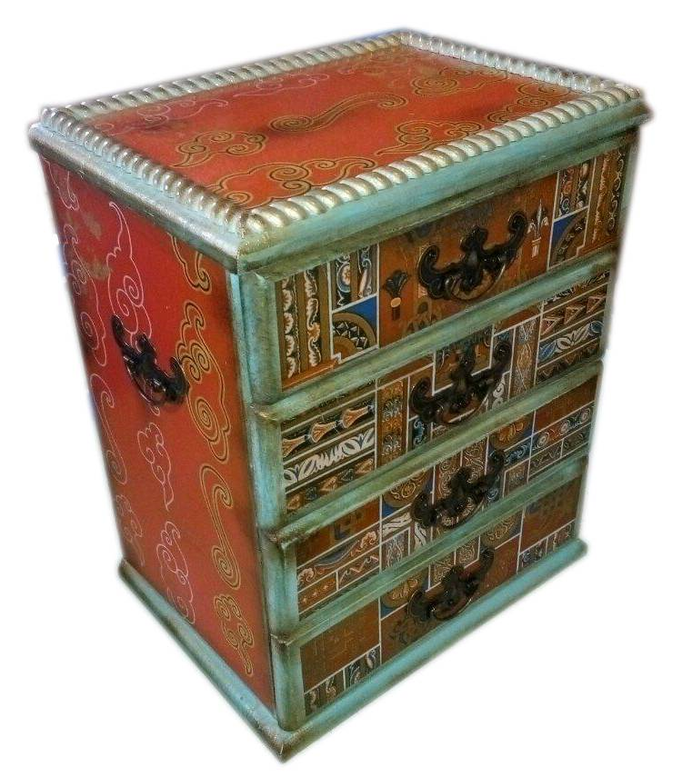 Деревянная шкатулка мини комод с ящиками