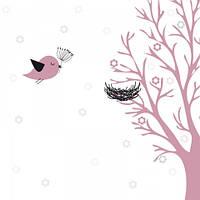 """Детские Фотообои """"Гнездо на дереве"""", текстуры: холст, иней, декоративная штукатурка"""