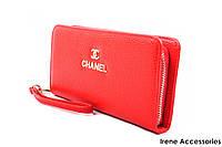 Элегантный женский кошелек Chanel из эко-кожи, цвет красный на молнии