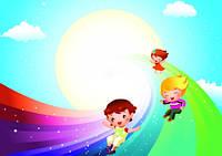 """Детские Фотообои """"Дети на радуге"""", текстуры: холст, иней, декоративная штукатурка"""
