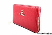 Элегантный женский кошелек Chanel из эко-кожи, цвет темно-красный на молнии