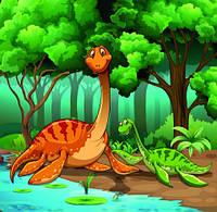 "Детские Фотообои ""Динозавры на берегу реки"", текстуры: холст, иней, декоративная штукатурка"