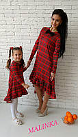 Парное взрослое и детское клетчатое платье