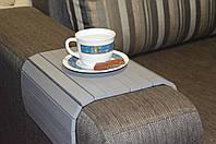 Деревянная накладка-столик на подлокотник дивана (серый) #2i2ua