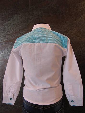 Рубашка белая для мальчиков 80,92,98,104 роста Планочка голубая, фото 2
