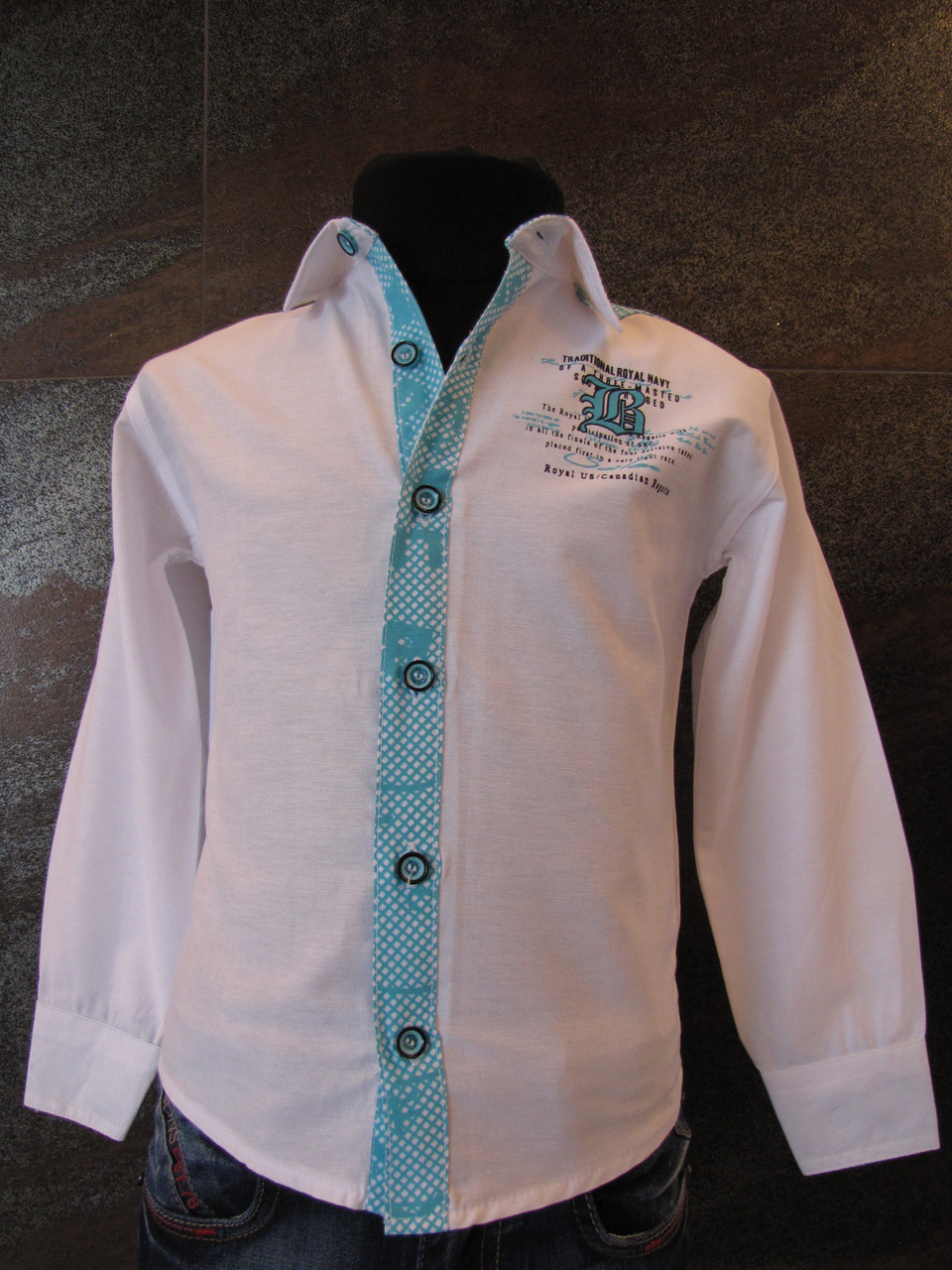 Рубашка белая для мальчиков 80,92,98,104 роста Планочка голубая