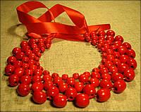 """Намисто """"Кольє"""" червоне, виготовлене з дерева"""