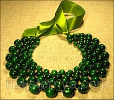 """Намисто """"Кольє"""" зелене, виготовлене з дерева"""